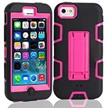 5C Case, iPhone 5C Case Cover,Lantier Full Body Hybrid Impact Shockproof Defender Case Cover With Kickstand for Apple iPhone 5C Black-Hot Pink