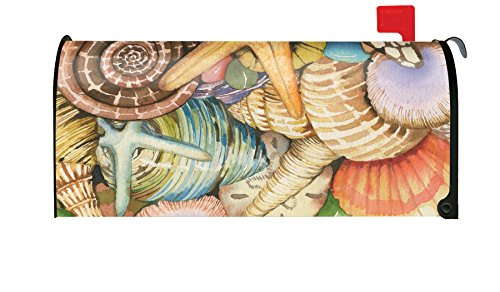 Seashell Post (Toland Home Garden Shells of the Sea Summer Beach Seashell Magnetic Mailbox Cover)