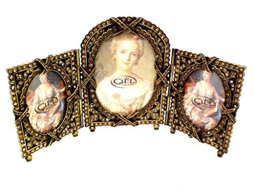 Ciel Collectables European Vintage Design Triple Picture Frame, Topaz Swarovski Crystal, Hand Painted Brown Enamel Over Pewter, Stylish Metal Back, Center Frame Holds 3.5 x 5 Inch Pictures