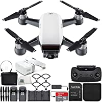 DJI Spark Portable Mini Drone Quadcopter Fly More Combo Virtual Reality VR FPV POV Experience Ultimate Bundle (Alpine White)
