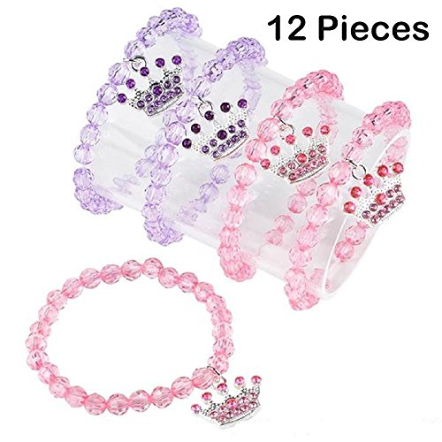 Beaded Princess Bracelets For Kids With Tiara Charm – 12 Pack, Pink And Purple Wrist Bands - 6 ½ Inch Stretchy, One Size Fits All – For Birthday Parties, Halloween, Party Favors Etc. – By Kidsco - Party Favor Gift Bags Purses