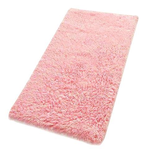 Kaimao Non-slip Absorbent Bath Mat Shower Rug for Living room Bedroom Bathroom Decor 19.7 x 31.5 inch,Watermelon Red (Girls Black Rug)