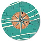 Cheap Stupell Home Décor Teal and Coral Nautical Compass Vanity Clock, 12 x 0.4 x 12, Proudly Made in USA