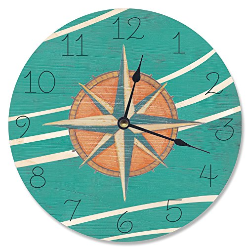 Stupell Home Décor Teal and Coral Nautical Compass Vanity Clock, 12 x 0.4 x 12, Proudly Made in USA