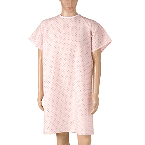 DMI Convalescent Hospital Gown with Back Tie, Pink Print (Patient Tie Gown)