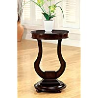 1PerfectChoice Alda Round Top Chair Side End Table Plant Stand Dark Walnut Unique Bell Shaped