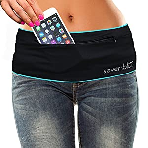 SevenBlu HIP - Fashion Money Belt / Extra Pocket / Running Belt - World's Best Stylish Travel Wallet or Mini Purse - with ZIPper - Fits iPhone 6 Plus - Your Smartphone Pocket (Sky M)