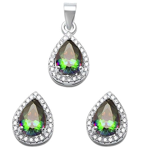 Pear Shape Simulated Gemstone & Cubic Zirconia .925 Sterling Silver Pendant & Earring set Birthstone Colors Available (Rainbow Cubic Zirconia)