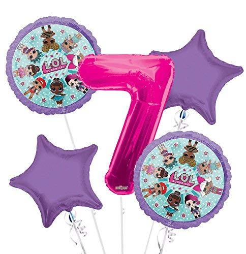 LOL Suprise Balloon Bouquet 7th Birthday 5 pcs - Party Supplies by Viva Party