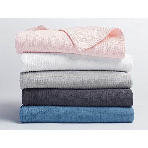 Coyuchi Organic Baby Blanket - Washed Matelasse Stroller Blanket - Deep Charcoal