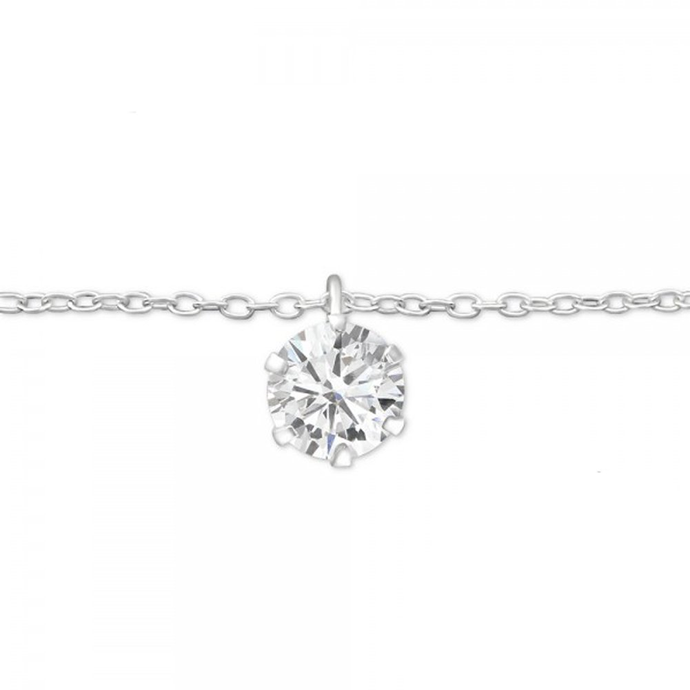 Sterling Silver Anklet with CZ Round Circle Charm Pendant Nickle Free Sensitive Skin (27635)