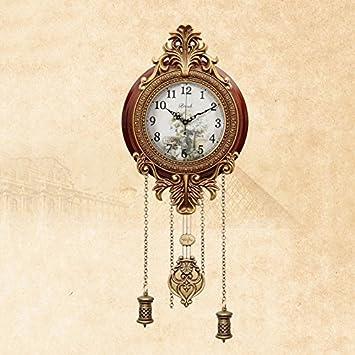 WOFULL Europische Klassische Wohnzimmer Wanduhr Stille Metall Holz Original Bewegung Uhr Mit Pendel