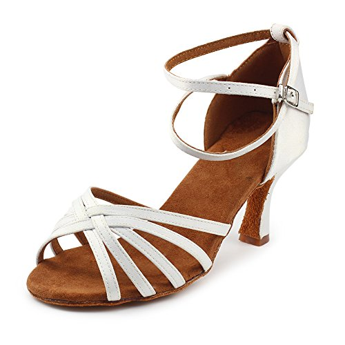- MSMAX Latin Dance Shoes for Women Satin Indoor Ballroom Shoes 2.7 inches Heel,White Size 7.5