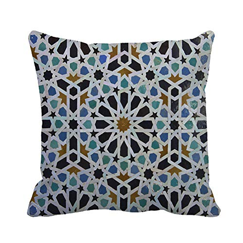 Awowee Throw Pillow Cover Blue Zellige Moroccan Pattern in Riad FES Morocco Green 20x20 Inches Pillowcase Home Decorative Square Pillow Case Cushion Cover (Best Riads In Morocco)