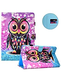 Case for Galaxy Tab A 10.1 2019(SM-T510 /T515),Multi-Angle View Smart Cover for Galaxy Tab A 10.1 2019,MOIKY Colorful Slim Folio with[Pencil Holder]Stand Wallet PU Leather Protective Case,Color Owl