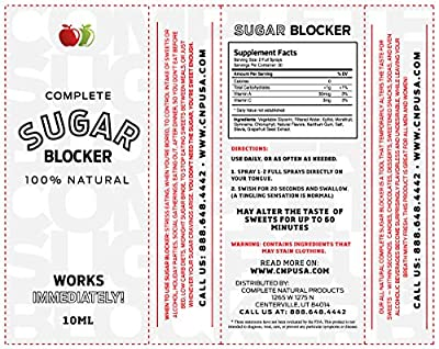 Sugar Blocker Spray - 10ml Complete Oral Appetite Suppressant & Control Supplement for Weight Loss, Keto, Stop Sugar Addiction Cravings