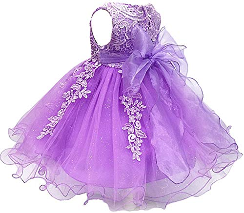 Shiny Toddler Baby and Girls Lace Applique Birthday Party Flower Girl Dress with Petticoat