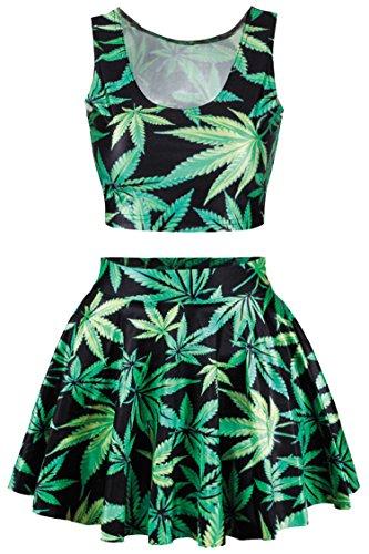 Pink Queen Women Green Cannabis Leaf Print Digital Tank Tops Tees Mini Skirt