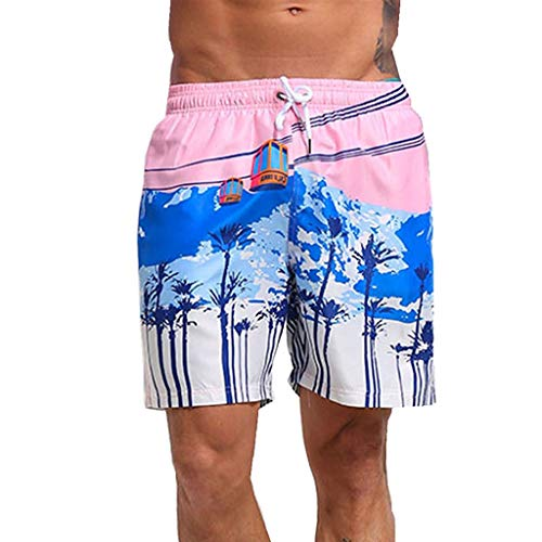 Men's Swim Trunk,Hawaii Drawstring Board Shorts Colortful Quick Dry Beach Shorts Surfing Running Swimwear Bathing Suits Shorts Pants (M, Pink)