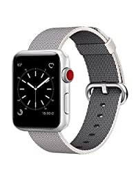 Uitee Smart Watch Band, Uitee Woven Nylon Band For Apple Watch Series 1 and 2, Uniquely and Artistically Designed Replacement Strap For Iwatch, Best Comfortably Light with Fabric Like Feel, 38 mm, Pearl