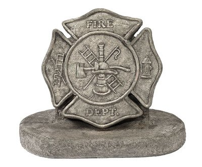 (Solid Rock Stoneworks Firemans Maltese Cross Stone Plaque 14in Tall Pre Aged Color)