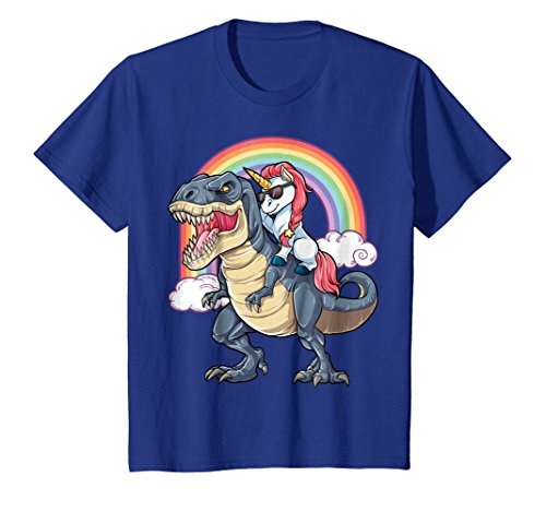 Unicorn Riding T rex Shirt Dinosaur Boys Girls Kids Gift Men
