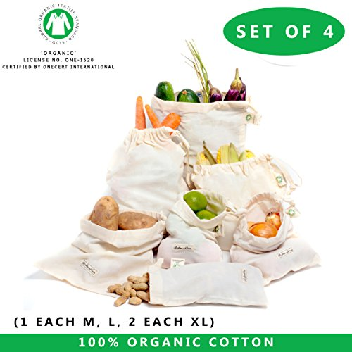 Produce bags Set of 4 - organic cotton muslin bags, reusable produce bag by All Cotton and Linen Cotton drawstring bags zero waste home Set of 4 ( 8'x10',12'x10', 12