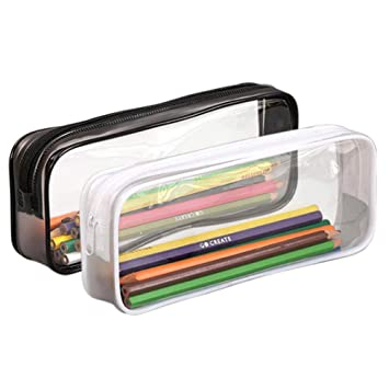 KISEER 2 Pcs Clear Pencil Case Transparent PVC Big Capacity Pencil Pouch Pen Bag Cosmetic Pouch with Zipper for School Office Stationery, Black and ...