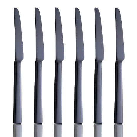 Amazon.com: Juego de 6 cuchillos para cena, color negro, de ...