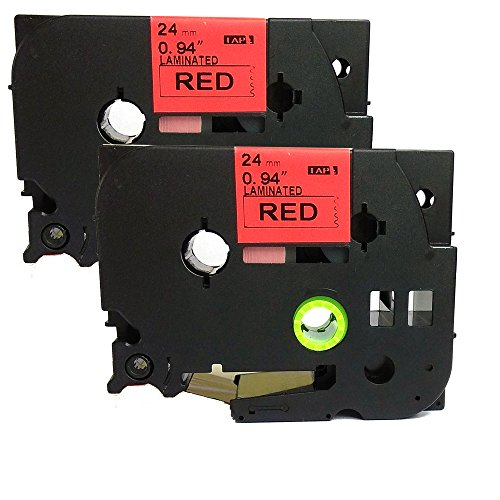 NEOUZA 2PK Compatible For Brother P-Touch Laminated TZe TZ Label Tape 24mm x 8m (TZe-451 Black on Red)