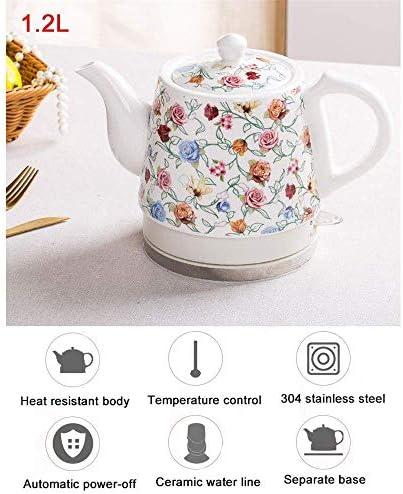 1.2L Keramik Elektro Wasserkocher, Fast Boil Wasserkocher, chinesische Weinlese-weißer Porzellan-Stil, 1350 Watt, Trockengehschutz und Auto-Shut-Off