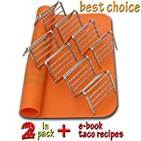 2 Taco Holders and Silicone Mat by AT - Best Stainless Steel Taco Rack Tray ...
