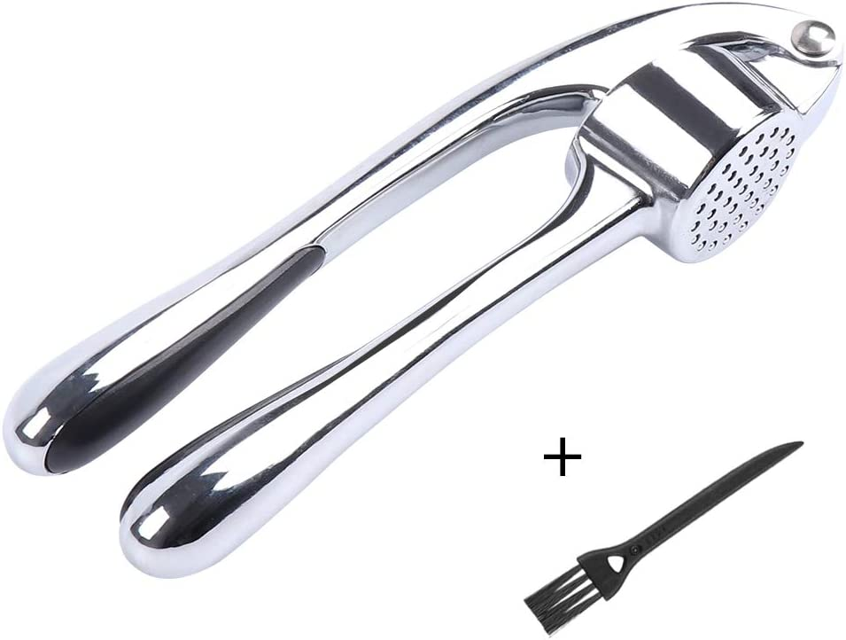 Garlic Press, McoMce Heavy Soft-Handled Garlic Mincer, Stainless Steel Garlic Crusher, Garlic Crusher with Cleaning Brush, Use Garlic Press Save Without Peeling, Easy Squeeze, Rust Proof, Easy Clean