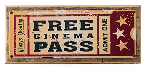 Framed Home Cinema Metal Sign Mounted on Rustic, Weathered Wood (Weathered Metal Sign)