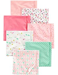 Baby Girls' 7-Pack Flannel Receiving Blankets