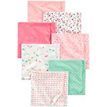 Simple Joys by Carter's Baby Girls' 7-Pack Flannel Receiving Blanket, Pink/White, One Size