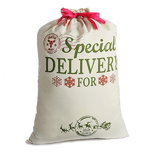 Christmas Bag Santa Sacks For Gift Personalized Burlap Extra Large 19.7″ X 26.8″ with Drawstring For Xmas Presents Stocking Filler Decorations & Party Favors For Kids Girl Boy (Large)