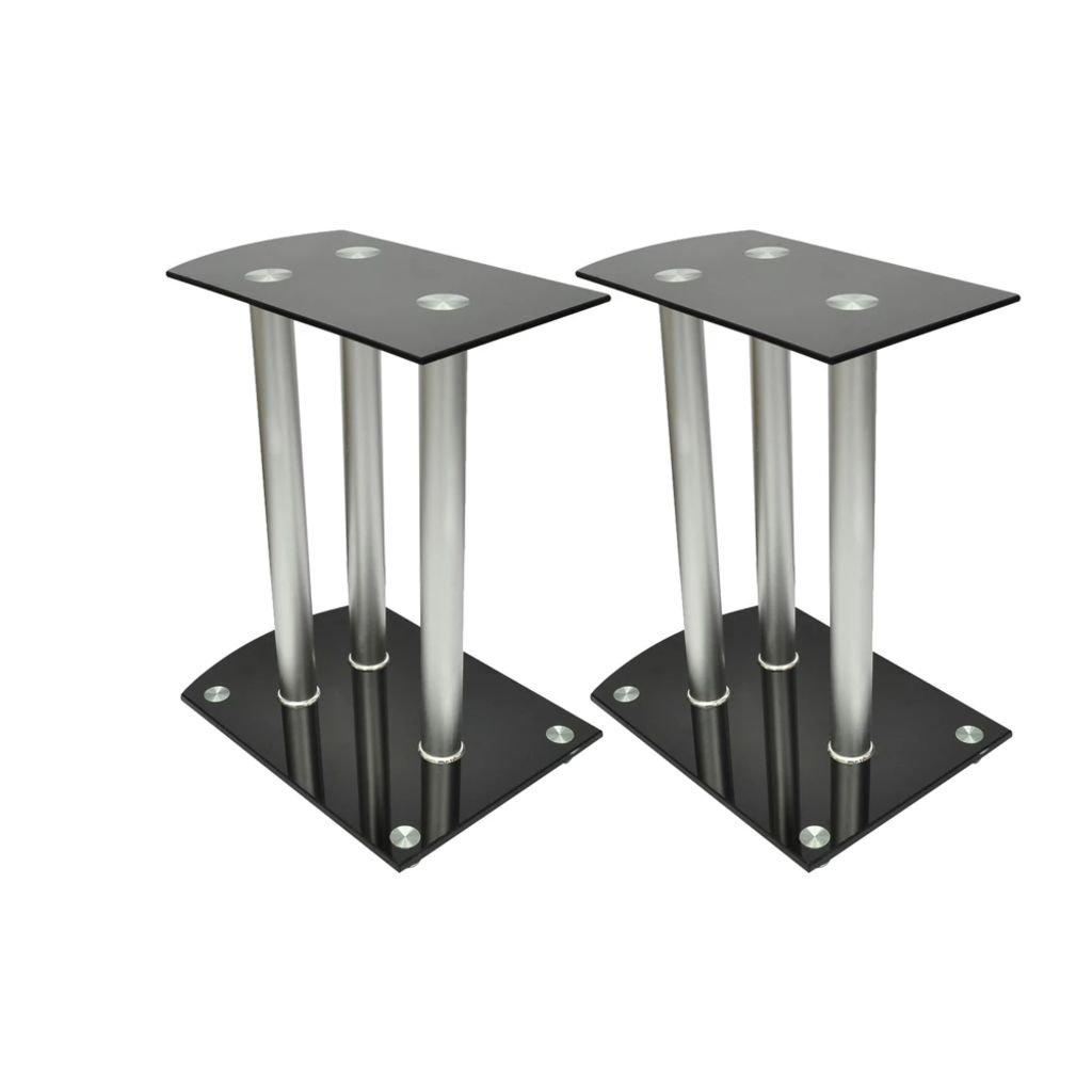 Electronics Audio Audio Accessories Speaker Accessories Speaker Stands & Mounts Aluminum Speaker Stands 2 pcs Black Glass by romelarus
