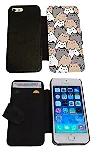 iphone 6 4.7'' Cute Cats Collage Sketch Multi Cats Cute Funky Designer Full Case / Flip cover Credit Card Holder Purse Defender Shockproof Holder Book Pouch Case Cover iPhone Wallet by icecream design