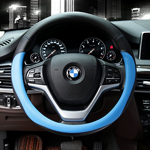 Valleycomfy Microfiber Leather Steering Wheel Covers Universal 15 inch (Blue)