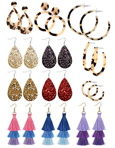 FIBO STEEL 12 Pairs Acrylic Dangle Earring Tassel Thread Earrings Leather Teardrop Drop Earring Set for Women Girls Statement Fashion Jewelry ()