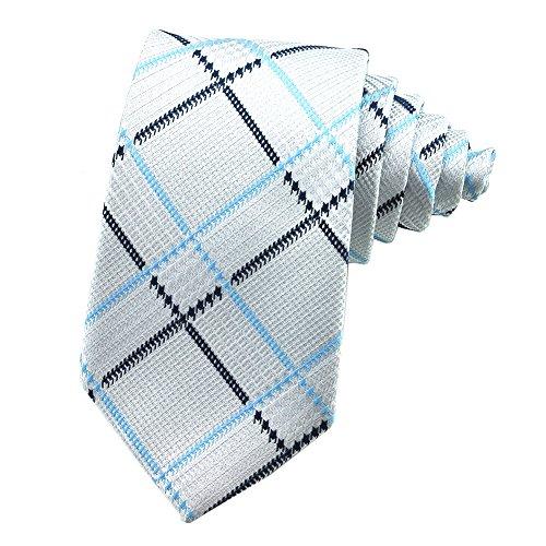 PenSee Mens Tie Jacquard Woven Silk Geometric Check & Plaids Neckties - Various Styles