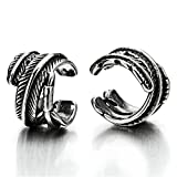 2pcs Vintage Leaf Ear Cuff Ear Clip Non-Piercing Stainless Steel Clip On Earrings for Mens Womens
