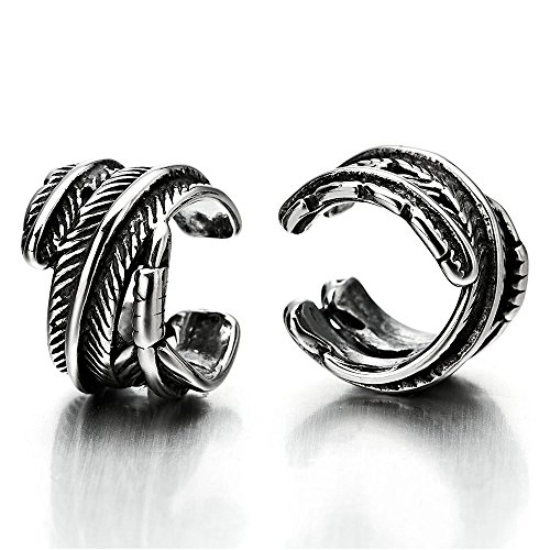2pcs Vintage Leaf Ear Cuff Ear Clip Non-Piercing Stainless Steel Clip On Earrings for Mens Womens by COOLSTEELANDBEYOND
