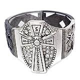 Gypsy Jewels Rhinestone Cross Silver Tone Gunmetal Multi Finish Stretch Bracelet