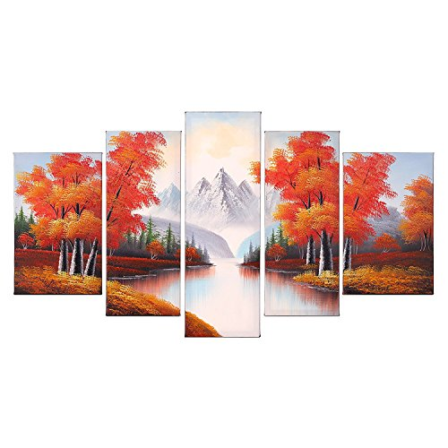 Orange Wall Decor - VASTING ART 5 Panel Oil Paintings Framed Canvas Wall Art, Hand Painted Modern Abtract Art Painting Maple Trees Forest River Ready to Hang for Bedroom Living Room Wall Decor
