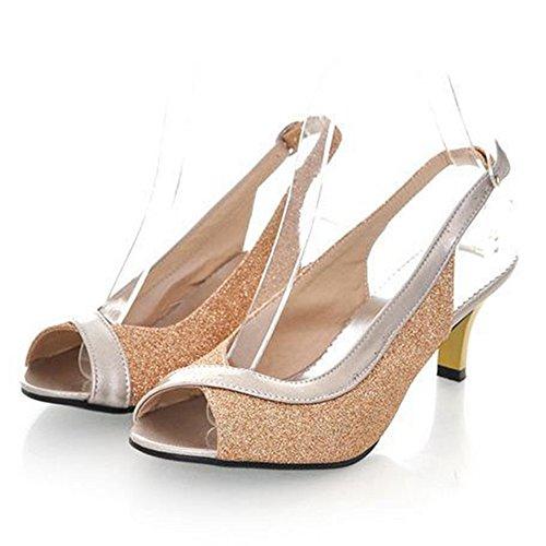 TAOFFEN Mujer Moda Mini Tacon Fiesta Resplandecer Sandalias Tacon Medio Peep Toe Slingback Zapatos Oro