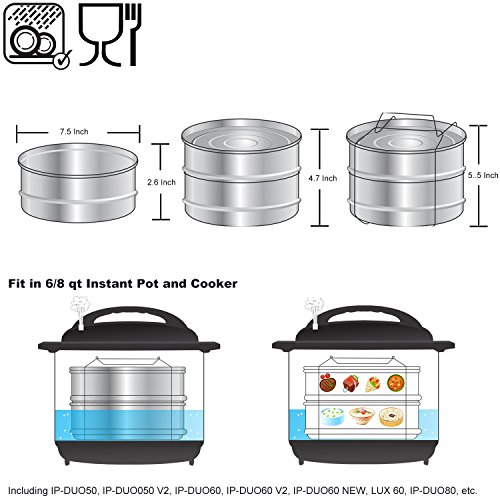 [Upgraded] Stackable Steamer Insert Pans for 6 8 Quart Instant Pot & Pressure Cooker - 2 Tier Steam Pans + 2 Interchangeable Lids - Pot in Pot Accessories to Bake, Reheat - Cook Recipes Included by Tartek Kitchen (Image #2)