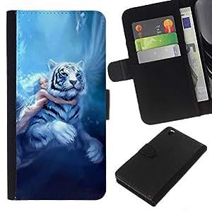 EJOY---La carpeta del tirón la caja de cuero de alta calidad de la PU Caso protector / HTC DESIRE 816 / --Fairytale Tigre grandes de la muchacha Alas Azules Pelo