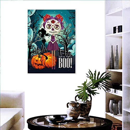 Halloween Brick Wall Stickers Cartoon Girl with Sugar Skull Makeup Retro Seasonal Artwork Swirled Trees Boo Wall Stickers 24